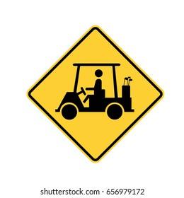 road sign - golf cart crossing