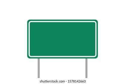road sign green in flat style, vector illustration