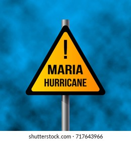 road sign of Hurricane Maria, 3D rendering. vector illustration