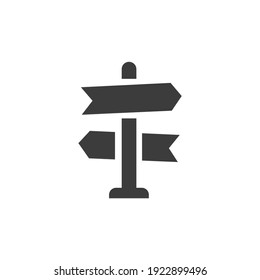 Road Sign Icon Isolated on Black and White Vector Graphic