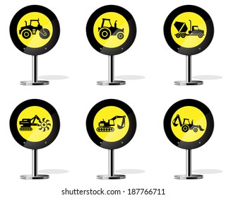 Road Sign Icons - Industrial Machines