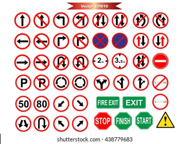 Road sign icons pack for art work.