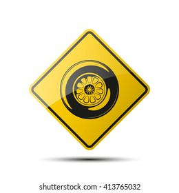 Road sign with image sport wheel. Vector Illustration