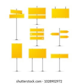 Road sign isolated on transparent. Highway traffic yellow signs. Transportation board frame.