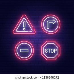 Road Sign neon sign, bright signboard, light banner. Vector illustration