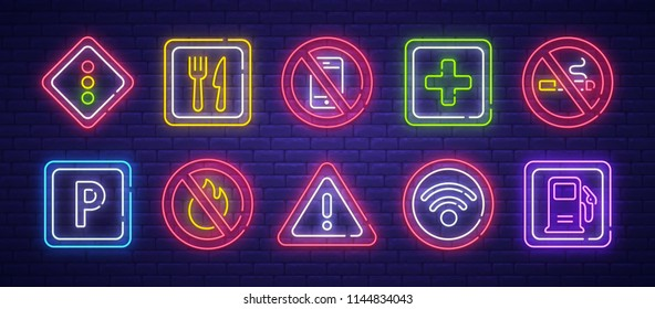 Road Sign neon sign, bright signboard, light banner. Cafe, No phone, Wi-Fi, Parking, Gas station, Ambulance, No smoking and No fire sign. Vector illustration