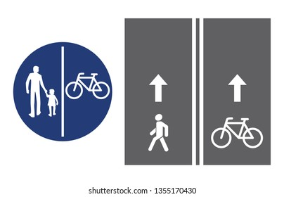 Road sign, pedestrian and bicyclist, vector illustration icon. Circular blue traffic sign. White image on the roadbed. white silhouette of people, man and child, baby girl, boy and bicycle