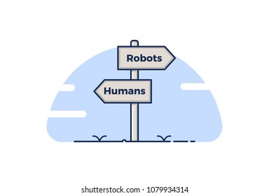Road sign pointing towards the 4th industrial revolution. Signboards pointing towards 2 concepts represented with the words Humans and Robots.Robots replacing humans at jobs. Vector illustration