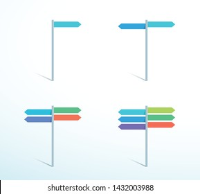 Road Sign Post Color Direction Pointing Flat Vector Set