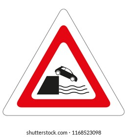 Road sign quayside or river bank