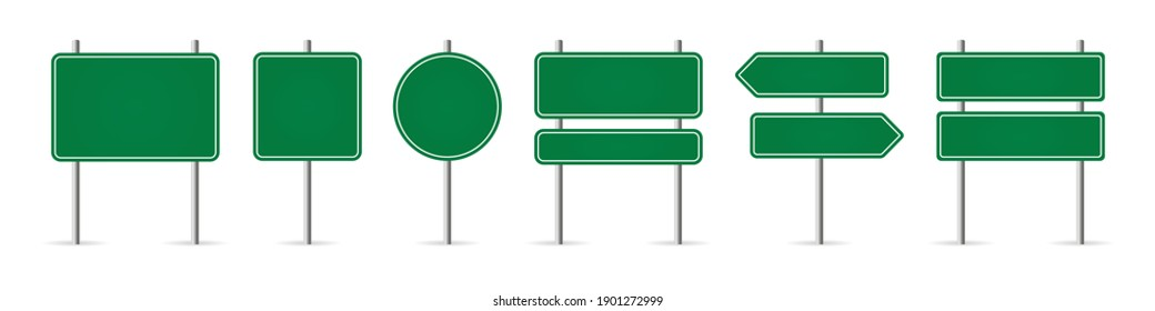 Road sign in realistic style isolated on white background. Set danger blank warning empty signs. Mock up traffic template. Realistic vector illustration.