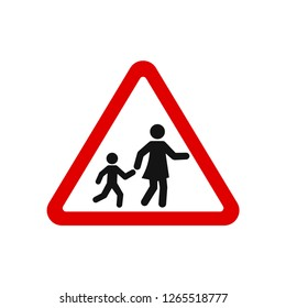 road sign school crossing red triangular style vector image