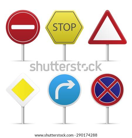 Road Sign Set Road Signs Symbols Stock Vector Royalty Free
