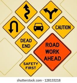 Road Sign Set - Textual yellow signs set as western roadsign symbols