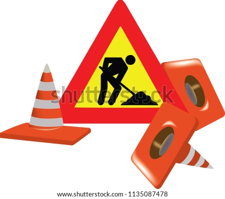 Road Sign Signs Interruption Worker Stock Vector Royalty Free