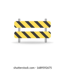 Road sign. Stop or closed warning alert. End of road or building is in progress. No way, do not enter icon. Vector EPS 10.