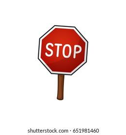 Road sign stop, vector illustration, cartoon