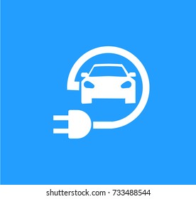 Road sign template of electric vehicle. Vector illustration of minimalistic flat design
