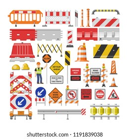 Road sign vector traffic street warning and barricade blocks on highway illustration set of roadblock detour and blocked roadwork barrier isolated on white background