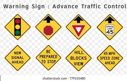 Road sign. Warning. Advance Traffic Control.  Vector illustration on transparent background