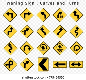 Road sign. Warning. Curves and Turns.  Vector illustration
