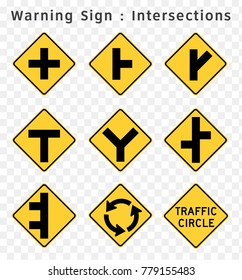 Road sign. Warning. Intersections.  Vector illustration on transparent background