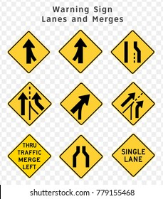 Road sign. Warning. Lanes and Merges.  Vector illustration on transparent background