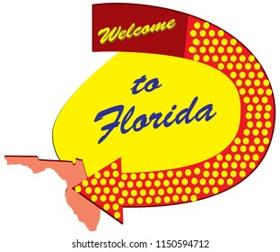 Road sign Welcome to Florida, constructed and styled fifties