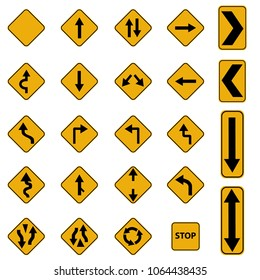 road sign in yellow color