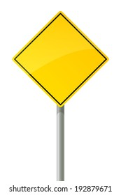 Road sign - yellow square on the pillar.