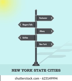 Road signpost template for USA towns and cities - New York state
