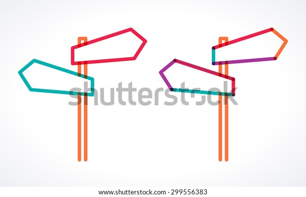 Road signs, blank arrow boards. Signpost with two arrows. Transparent overlapping colorful linear vector illustration. Place for your text