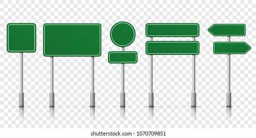 Road signs blank icons. Vector green plate road signs templates for direction