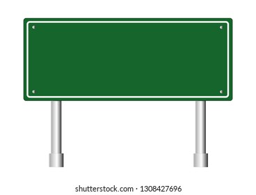 Road signs blank icons. Vector green plate road signs templates