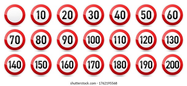 Road signs collection. Traffic control sign. Speed limit. Vector illustration.