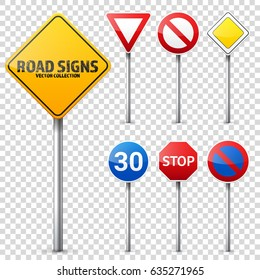 Road signs collection. Road traffic control.Lane usage.Stop and yield. Regulatory signs.Transparent background.