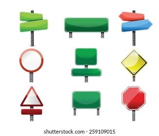 road signs icon set illustration design over white