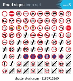 Road signs isolated on white background. Prohibition and speed limit signs. High quality traffic road signs.