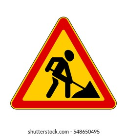 Road signs. Roadworks ahead. Vector Illustration
