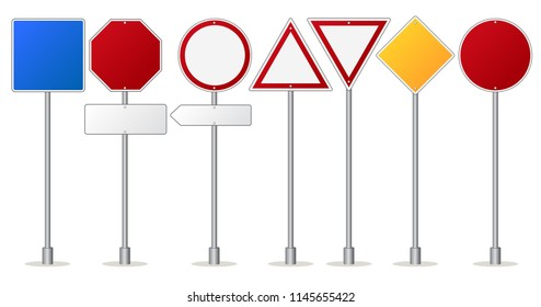 Road signs set, Traffic regulatory and warning signpost. Blank metal attention boards. Vector