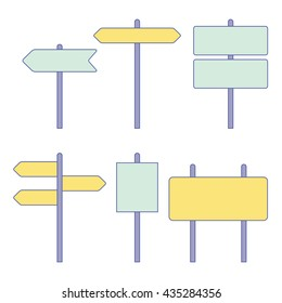 Road signs. Street signs. Traffic signs. Highway signs. Vector illustration