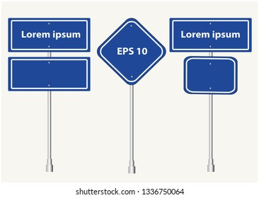 Road signs Street. Vector blue plate road signs templates collection