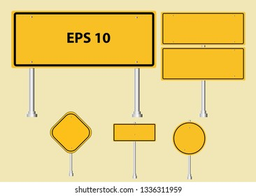 Road signs Street . Vector yellow plate road signs templates collection