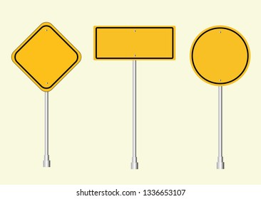 Road signs Street. Vector yellow plate road signs templates collection