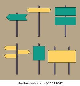 Road signs. Traffic symbols. Flat design thin line style. Vector illustration