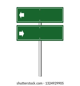 Road signs two way Street  blank icons. Vector green plate road signs templates