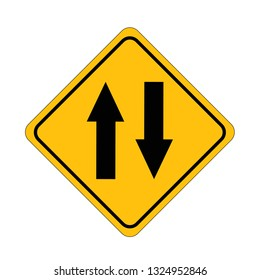 Road signs two way Street. Vector green plate road signs templates