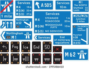 Road signs in the United Kingdom, Motorway signs, Signals, conditions,  Temporary Speed Advisories, Lane Restrictions, Motorway Closed.