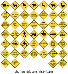 Road signs in the United States. Advance Warnings and Crossings. Vector Format