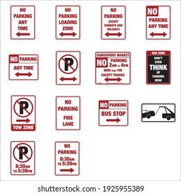Road signs in the United States, traffic codes in the United States. Road signs vector for educational use in driving school. No Parking road signs of United States.